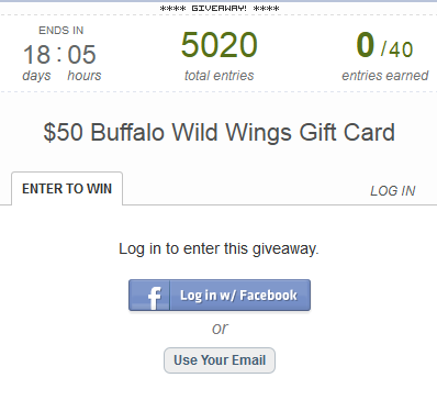 $50 Buffalo Wild Wings Promotion