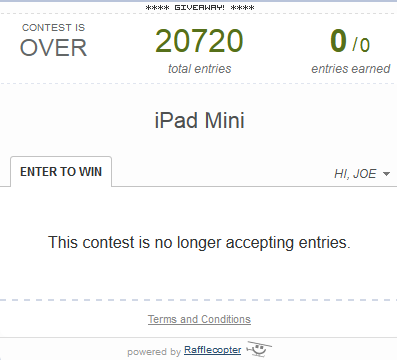 iPad Mini Giveaway Promotion